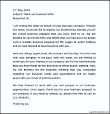 Letter Thank You For Your Business