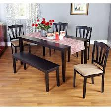 table 4 chairs and bench. amazon.com - metropolitan black 6-piece dining set with table, bench and four chairs for room, kitchen or nook meals, dinner, supper, table 4