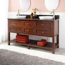 Bamboo Bathroom Cabinets 60 Taren Bamboo Double Vanity For Semi Recessed Sink Light