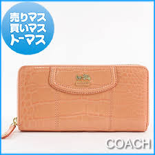 Authentic COACH Madison Embossed Crocodile Accordion Zip Around Wallet  Zippy Coral Pink Orange Patent leather 46628-B4 CO Women Lady s fs04gm