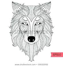 Wolf Coloring Page Detail Wolf For Coloring T Shirt Design Effect