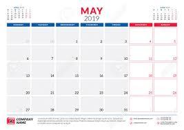 Callendar Planner May 2019 Calendar Planner Stationery Design Template Vector