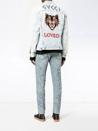 gucci jean jacket. gucci loved wildcat denim jacket jean #