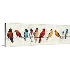 avery tillmon premium thick wrap canvas wall art print entitled the usual suspects birds on birds on wire canvas wall art with amazon avery tillmon premium thick wrap canvas wall art print