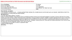 head waiter waitress job application letter waitress application