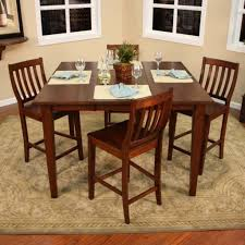 traditional dining room with 5 piece brown high top kitchen table set mission style brown