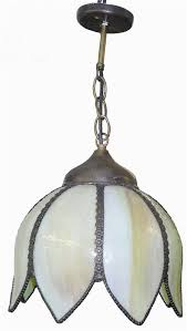 vintage tulip green slag stained glass ceiling pendant lamp hanging fixture