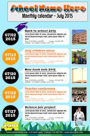 School Calendar Template 2015 2020 Monthly Calendar For School Association And Organization