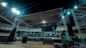 concert stage speakers. 4k 30p music concert stage set up buildup construction time lapse.night lapse in speakers