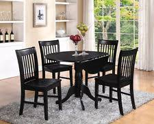 black kitchen dining sets: item  pc set round dinette kitchen dining table with  wood seat chairs in black