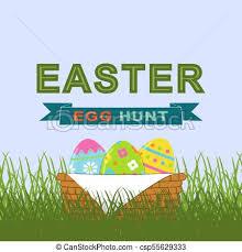 Vector Easter Egg Hunt Background With Easter Eggs In Basket