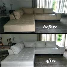 leather paint for couch off white sectional color changed to bright before and after chalk faux painting a leather couch
