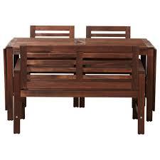 äpplarö Tisch 2 Armlehnstühle Bank Außen äpplarö Braun Las Ikea Avec