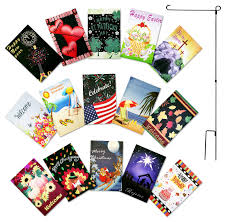 get ations double sided garden flag set of 15 yard flags 12 x 18 inches with free metal
