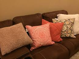 pillow placement for my brown sectional
