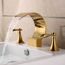 gold plated finish ti pvd brass three sets of bathroom sink faucet at faucetsdeal com