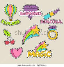 Cute girly sticker patch design series