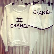chanel jumper. white chanel sweatshirt and shorts jumper s