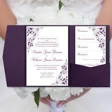 glamorous gold confetti and deep purple wedding invitation suite Cadbury Purple Wedding Invitations Online diy pocketfold wedding invitations \