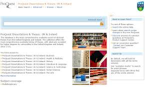 irish theses theses information libguides at ucd library screenshot of proquest database