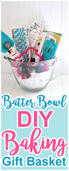 pretty and fun batter bowl diy baking gift basket tutorial and idea by dreaming in diy