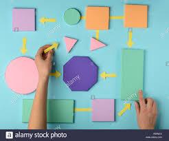 Woman Making A Flow Chart Color Paper 3d Blocks Connected