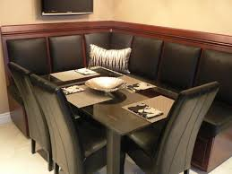 Contemporary Kitchen Nook Set With Redwood Bench With Black Leather