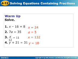 2 solving equations containing fractions