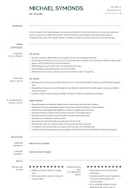 Esl Resume Esl Teacher Resume Samples Templates Visualcv