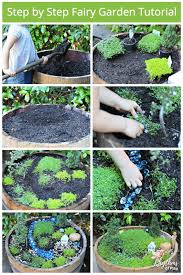 step by step fairy garden tutorial photo collage