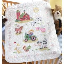 Baby Boy Cross Stitch Quilt Kits Baby Cross Stitch Quilt Tops ... & ... Cross Stitch Baby Quilts Sale The On The Farm Baby Quilt Kit Is A  Stamped Cross ... Adamdwight.com