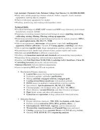 Chemistry Lab Technician Resume Chemical Lab Technician Cover