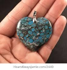 blue heart shaped medical stone pendant fuyzkxaps 1