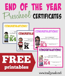free preschool certificates free end of the year preschool certificates in all you do