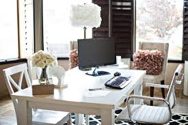 modern decoration home office features. White Office Desk Featuring Simple Feminine Home Modern Decoration Features