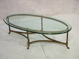 oval glass top coffee table simple