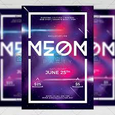 Neon Party Flyer Club A5 Template