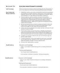 Sample Resume For Building Maintenance Worker – Directory Resume