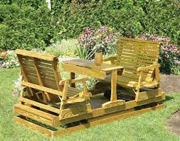 marvellous double wooden outdoor glider and double patio glider