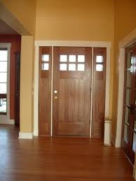 white trim with wood doors