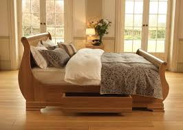 absolutely wooden sleigh bed frame the camargue reival solid oak with storage drawer uk super king