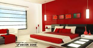 modern bedroom wall decor red plastic panels with black frames
