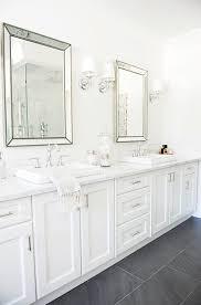 beveled bathroom vanity mirrors. Monika Hibbs From The Doctor\u0027s Closet - Master Bathroom With Restoration Hardware Venetian Beaded Mirrors Flanked By Lugarno Single Beveled Vanity E