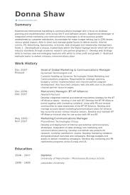 Head Of Global Marketing & Communications Manager Resume samples