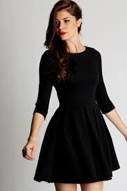 Black Long Sleeve Skater Dress Naf Dresses