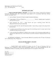 Affidavit Of Loss School Id Sample