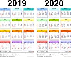 2020 16 Calendar Printable 2019 2020 Two Year Calendar Free Printable Excel Templates