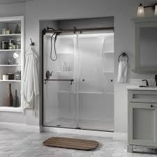 semi frameless contemporary sliding shower door in