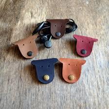 cord organizer cord holder earbud holder leather cable holder cable cord keeper earbud organizer leather earphone organizer headphone holder