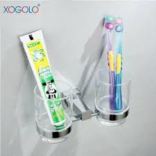 xogolo modern style luxury chrome double tumbler accessories toothbrush holder glass wall mounted bathroom cup holder